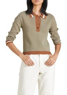 Women's Veronica Beard Hildy Long Sleeve Polo Shirt