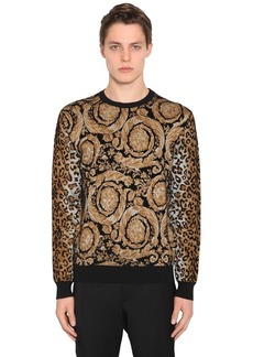 Versace Animalier Viscose Blend Knit Sweater
