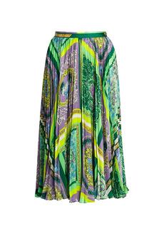Versace Barocco Mosaic-Print Pleated Midi Skirt