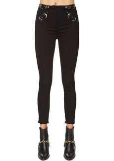 Versace Buckled Skinny Cotton Denim Jeans