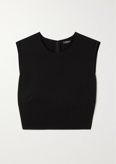 Versace Cropped Embellished Cutout Jersey Top