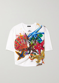 Versace Cropped Embellished Printed Cotton-jersey T-shirt