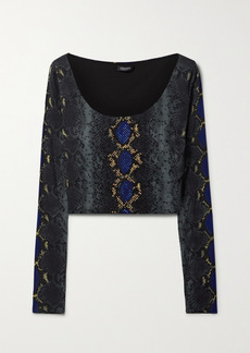 Versace Cropped Embellished Snake-print Stretch-jersey Top