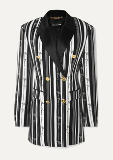 Versace Double-breasted Striped Crepe Mini Dress