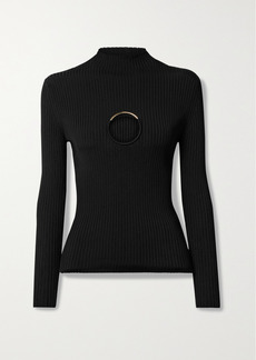 Versace Embellished Cutout Ribbed-knit Sweater