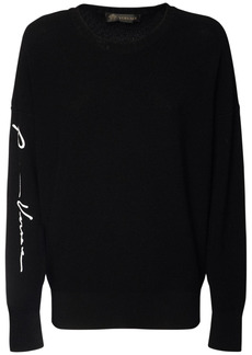 Versace Gv Logo Embroidery Wool Knit Sweater