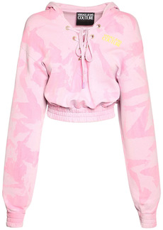Versace Lady Light Fleece Crop Sweatshirt Hoodie