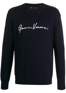 Versace logo embroidered jumper