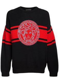 Versace Logo Intarsia Wool Knit Sweater