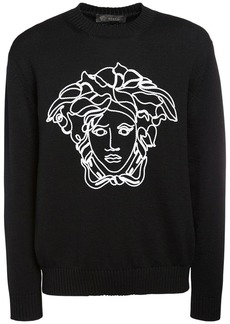 Versace Medusa Embroidered Wool Knit Sweater