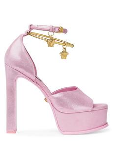 Versace Medusa Eternity Glitter Leather Platform Sandals