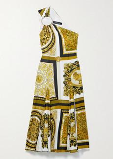 Versace One-shoulder Embellished Printed Jersey Midi Dress