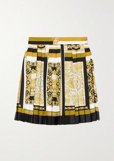 Versace Pleated Printed Silk-twill Mini Skirt