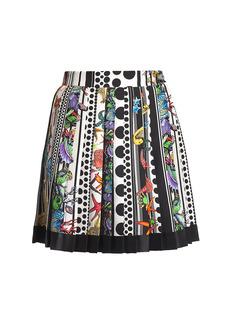 Versace Trésor Pinstripe Printed Pleated Silk Mini Skirt