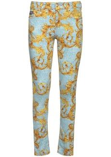 Versace Printed Cotton Denim Skinny Jeans