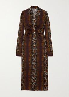 Versace Ruched Snake-print Stretch-jersey Midi Shirt Dress