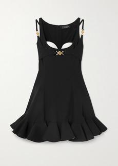 Versace Ruffled Embellished Cady And Plissé Mini Dress