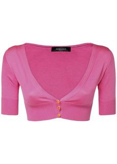 Versace Silk Knit Crop Top W/ Logo Buttons