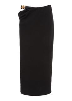 Versace - Women's Cutout Linen-Blend Medusa Skirt - Black - Moda Operandi