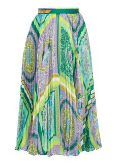 Versace - Women's Pleated Heritage-Print Crepe Midi Skirt - Print - Moda Operandi