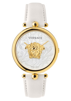 Versace Barocco Leather Strap Watch, 39mm