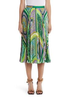 Versace Barocco Mosaic Print Pleated Midi Skirt