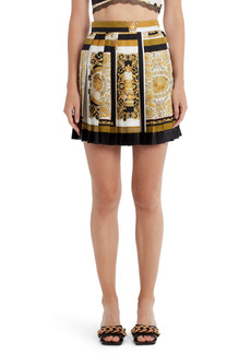 Versace Barocco Mosaic Print Pleated Silk Miniskirt
