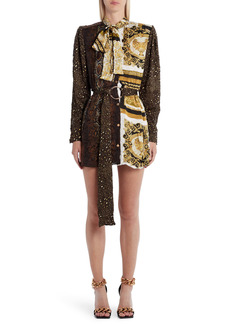 Versace Barocco Patchwork Print Long Sleeve Mini Shirtdress
