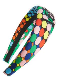 Versace Dot Print Embroidered Logo Headband