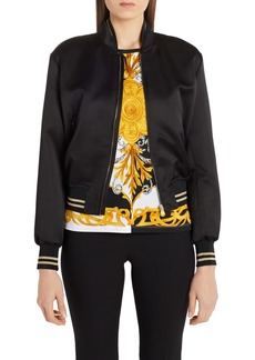 Versace Embroidered Medusa Logo Back Satin Bomber Jacket