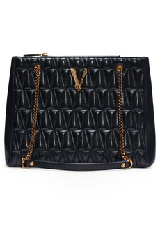 Versace First Line Virtus Large Quilted Leather Tote
