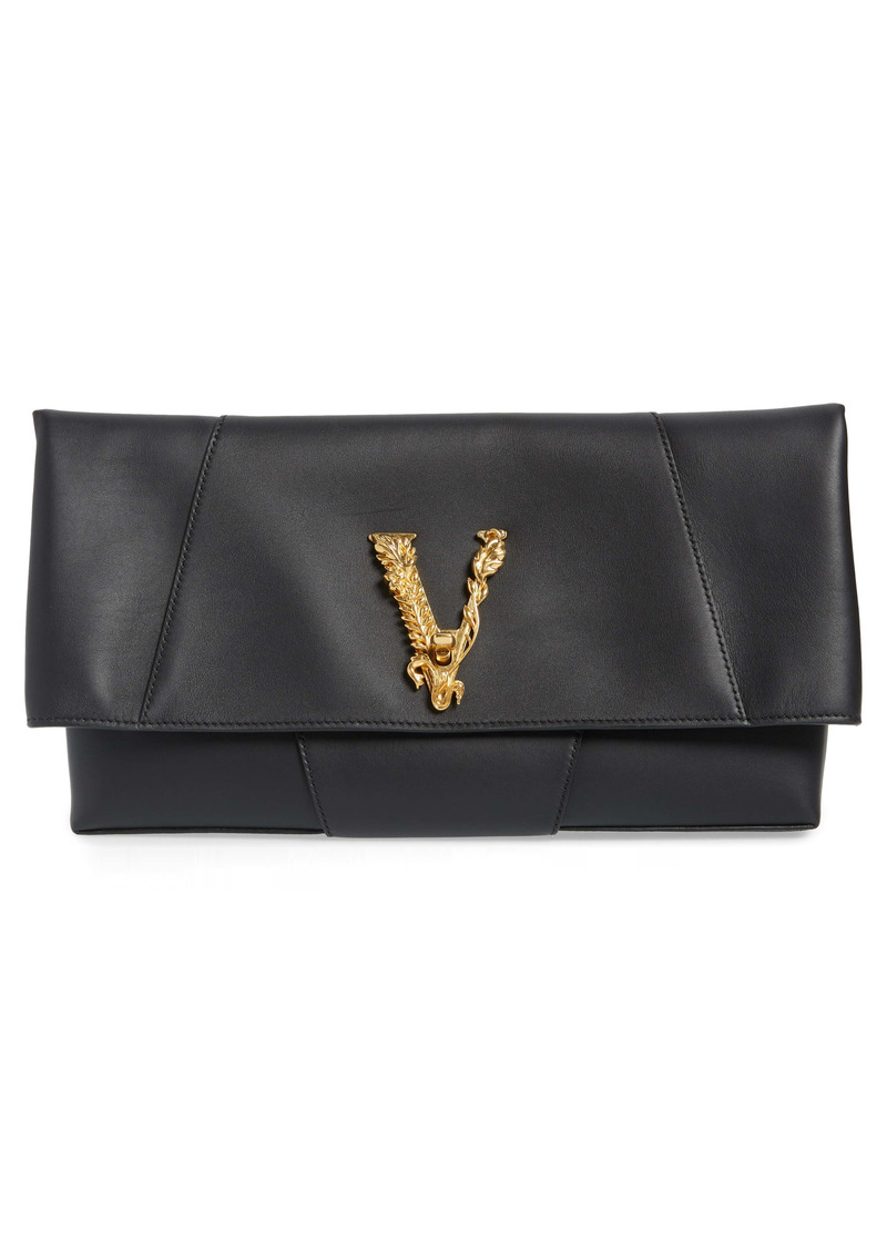 Versace First Line Virtus Leather Clutch