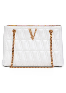 Versace First Line Virtus Medium Quilted Leather Tote