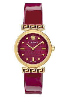 Versace Greca Detailed Leather Strap Watch, 34mm