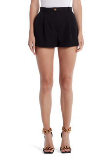 Versace Medusa Button Pleated Stretch Wool Shorts