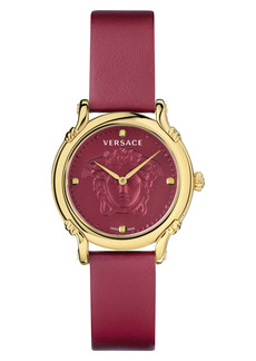 Versace Medusa Embossed Leather Strap Watch, 34mm