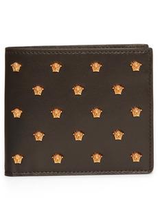 Versace Medusa Stud Leather Bifold Wallet