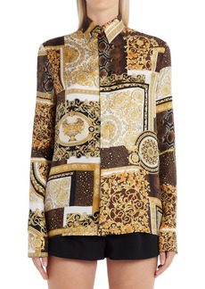 Versace Patchwork Barocco Button-Up Silk Blouse