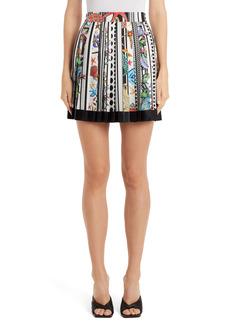Versace Shell Stripe Silk Miniskirt