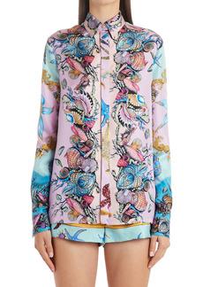 Versace Trésor de la Mer Print Silk Twill Blouse