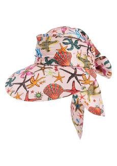 Versace Trésor de la Mer Print Silk Visor Hat
