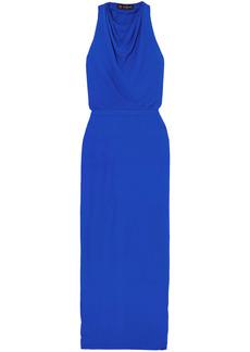 Versace Woman Hooded Crepe Maxi Dress Blue