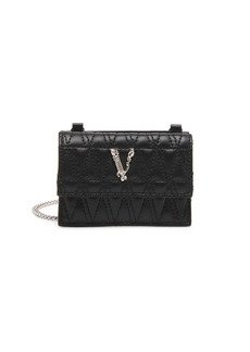 Versace Virtus Quilted Leather Card-Case-On-Chain