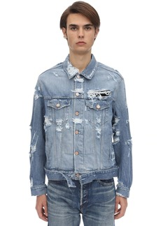 Vetements Destroyed Logo Cotton Denim Jacket