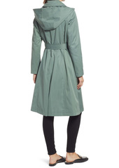 Via Spiga Belted Water Resistant Trench Coat with Removable Hood