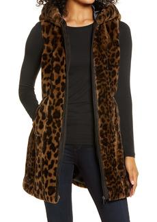 Via Spiga Faux Fur Hooded Long Vest