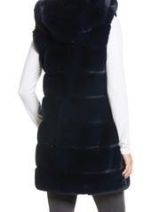 Via Spiga Grooved Faux Fur Hooded Vest