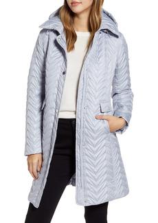 Women's Via Spiga Chevron Quilted Water Resistant Coat