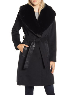 Women's Via Spiga Faux Leather & Wool Blend Coat With Faux Fur Collar