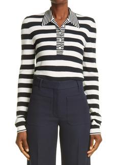 Victoria Beckham Stripe Wool & Cashmere Long Sleeve Polo